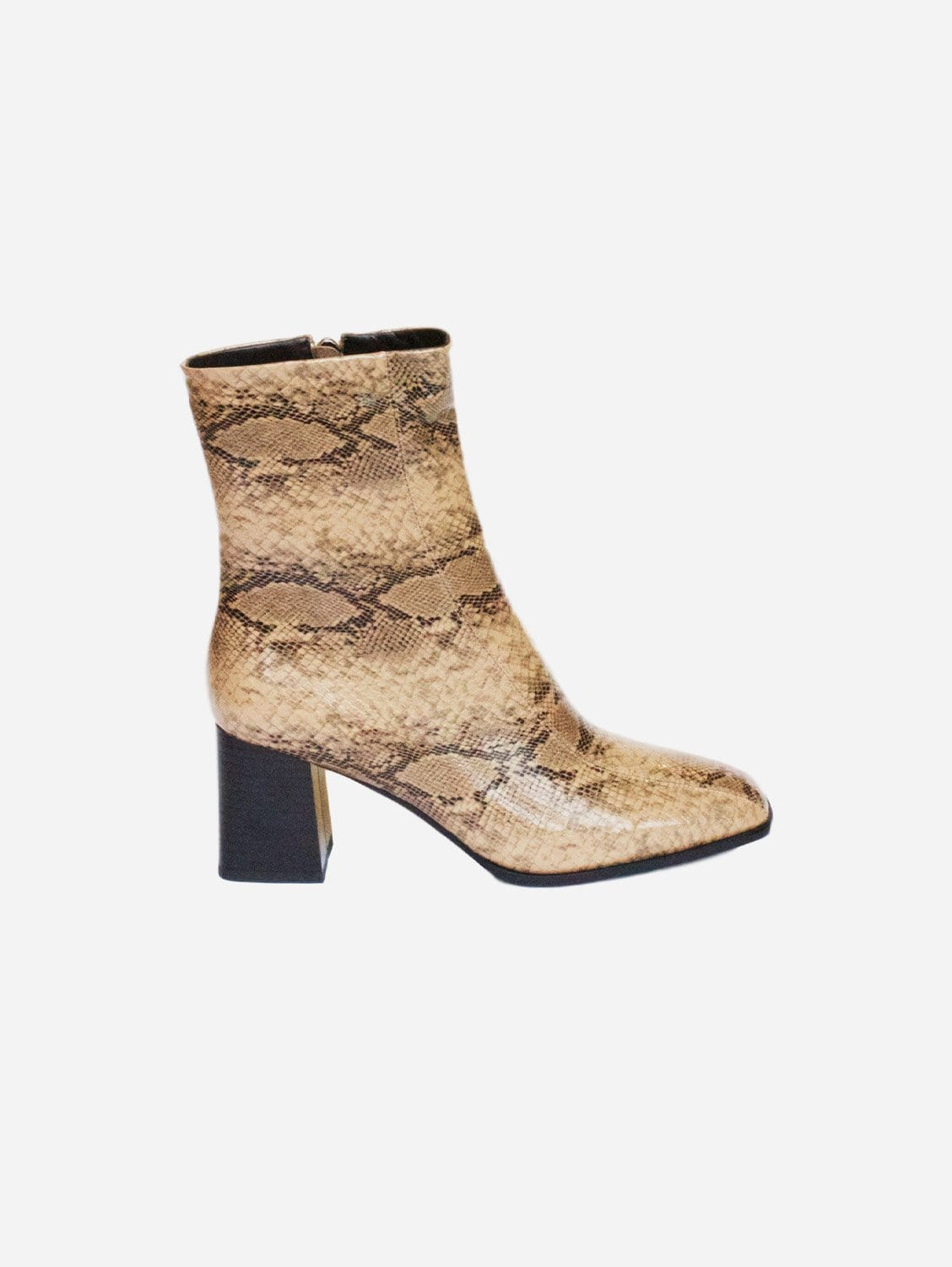 Roka Up-Cycled Vegan Leather Boot   Brown Snake