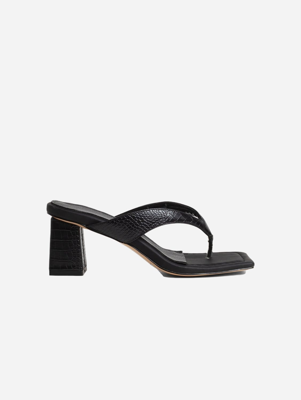 Philo Up-Cycled Vegan Leather Square Toe Heeled Sandal | Black Croc