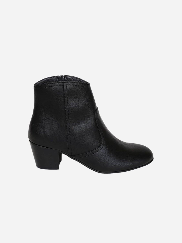 Nina Vegan Leather Heeled Ankle Boots | Black
