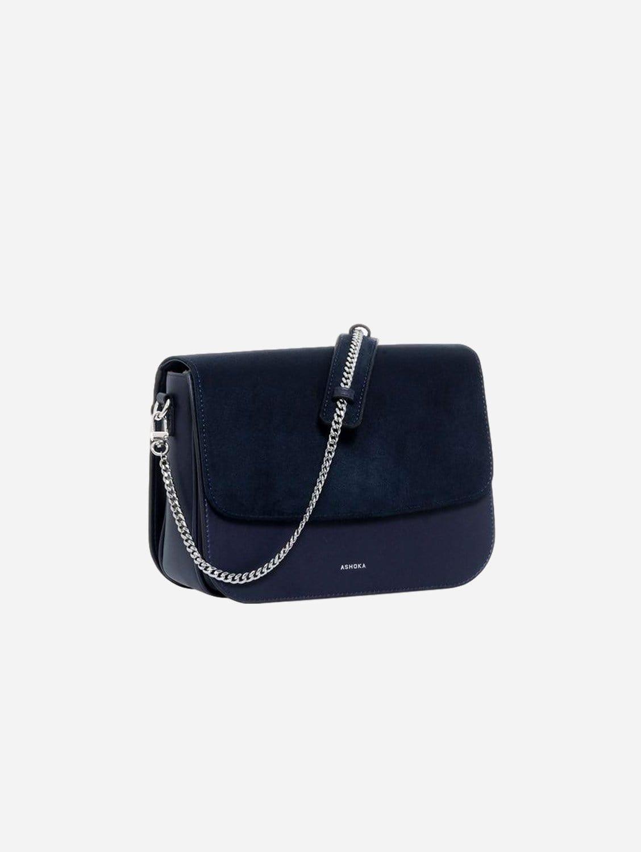 Brigitte Oxymore Vegan Leather & Microsuede Handbag   Navy