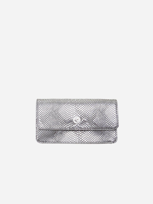 Sara Vegan Leather Chain Wallet Purse | Silver