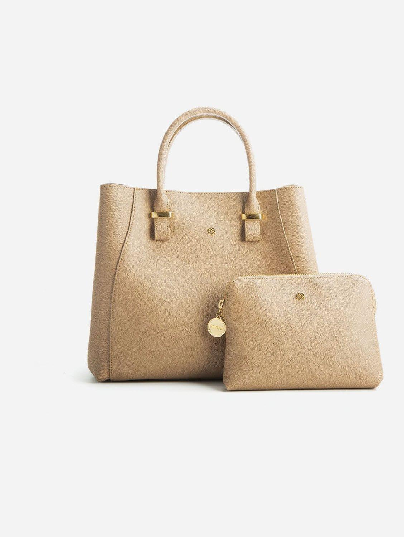 Jane Vegan Leather Satchel   Light Brown