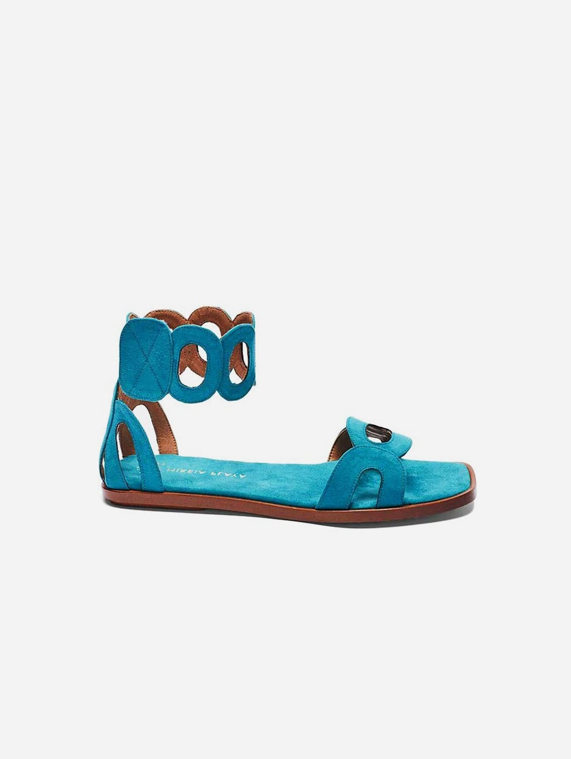 Hortensia Recycled Polyester Vegan Suede Ankle Sandal | Aquamarine