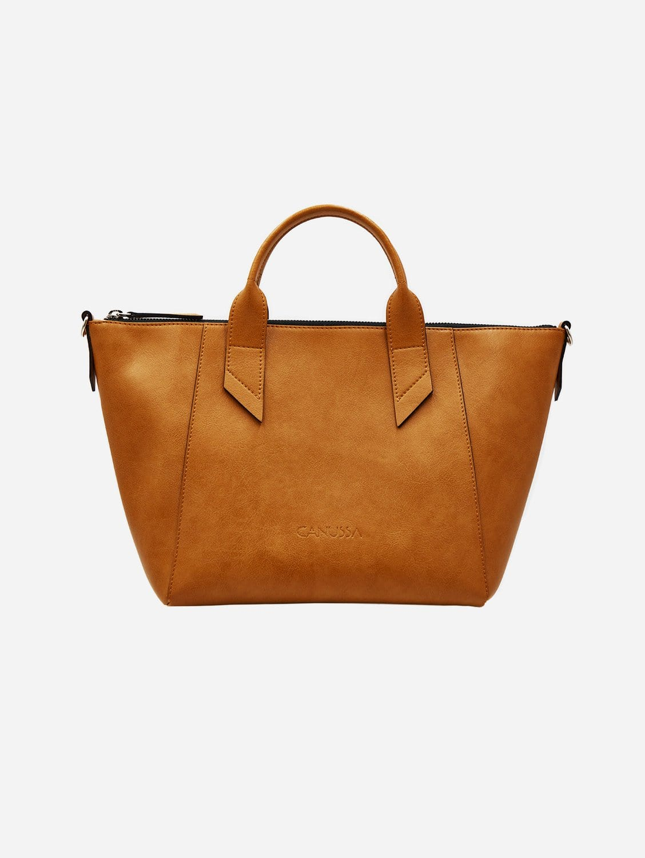 Trotto Vegan Leather Satchel | Camel