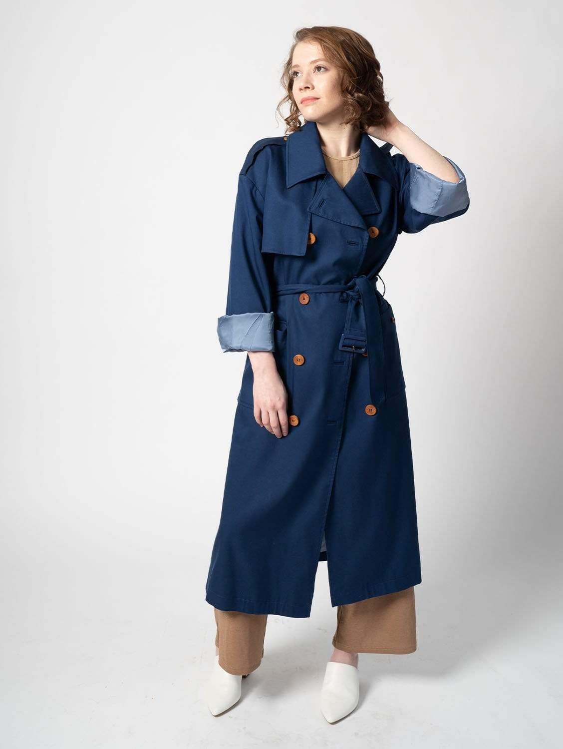 The Slouchy TENCEL™ blend Trench | Cobalt