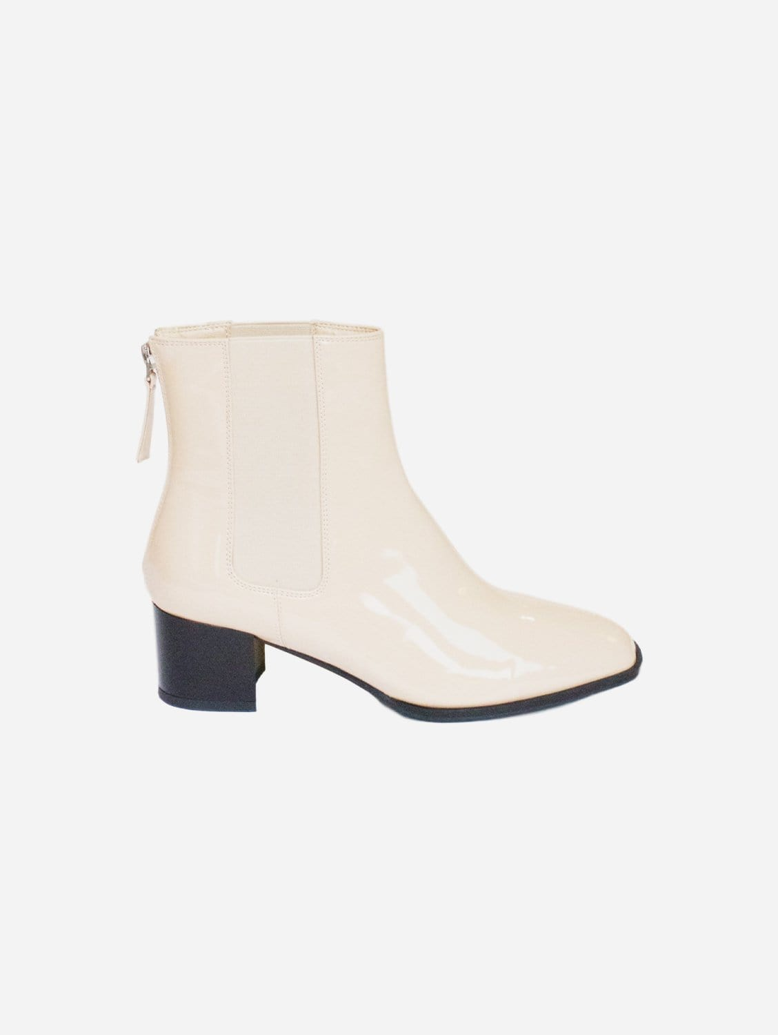 Lila Up-Cycled Vegan Patent Leather Boot | Beige