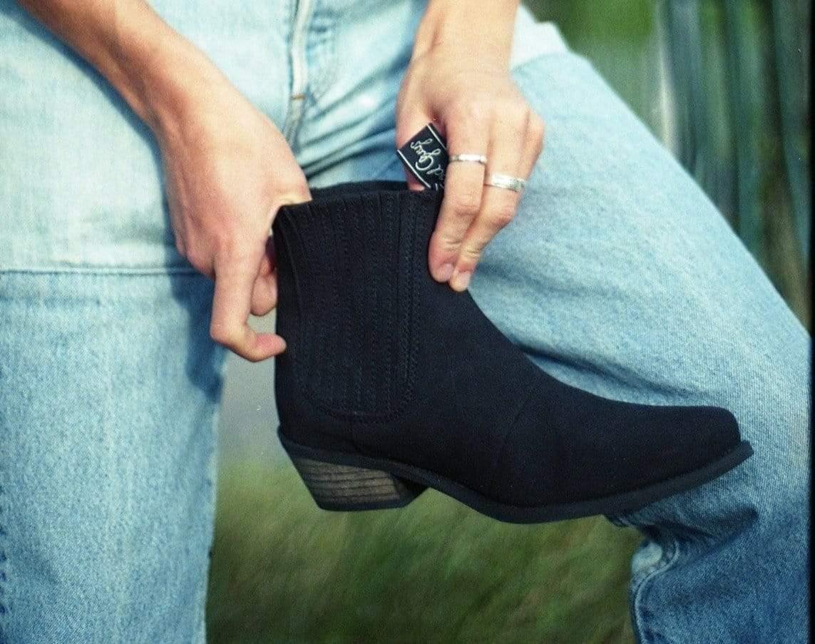 Good Guys Don't Wear Leather Duke Vegan Suede Cowboy Boots   Black
