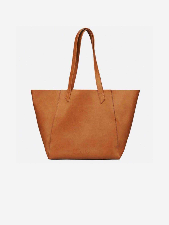 Totissimo Foldable Vegan Leather Tote Bag   Camel