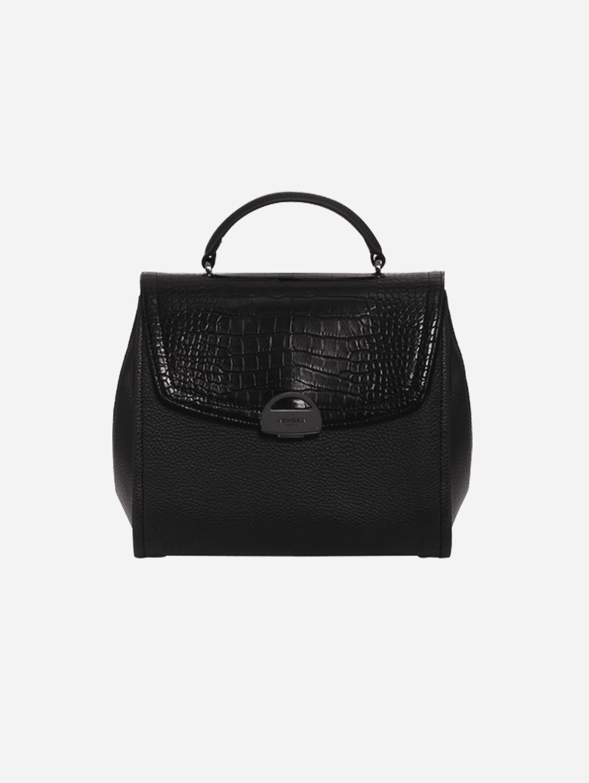 Paname Croco & AppleSkin Vegan Leather Handbag | Black
