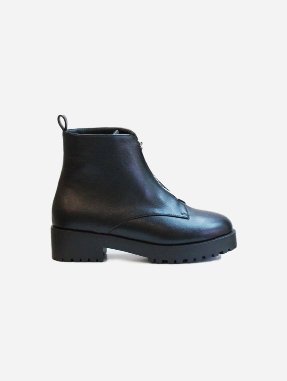 Efi Vegan Leather Biker Boots | Black
