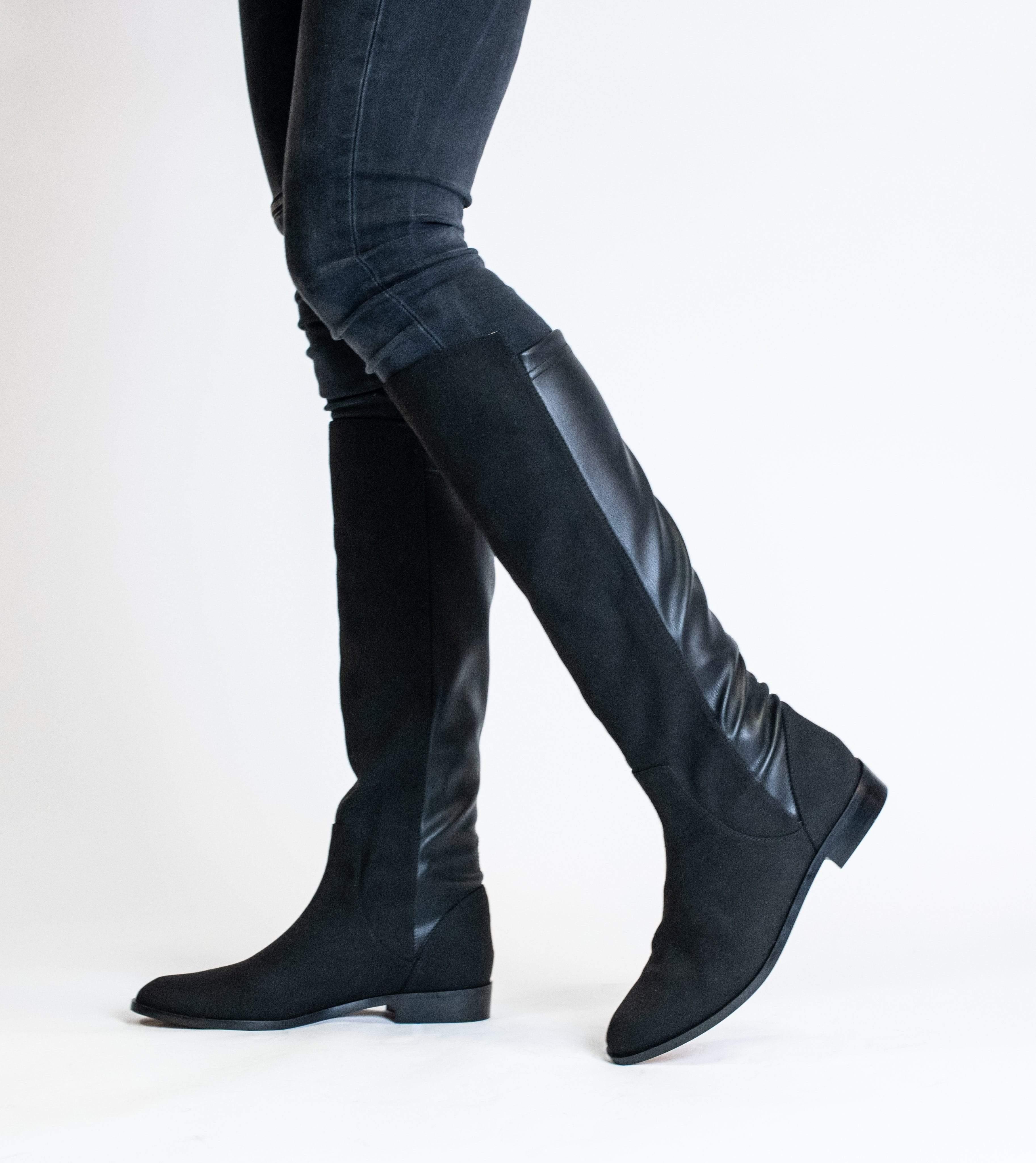 Allkind Grace Two Tone Vegan Long Flat Boots | Black
