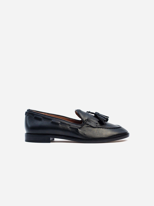 Alice Vegan Leather Tassel Loafer | Black
