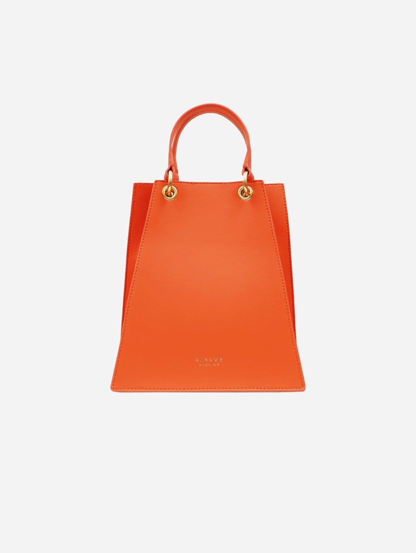 Fire Vegan Leather Triangular Satchel | Orange