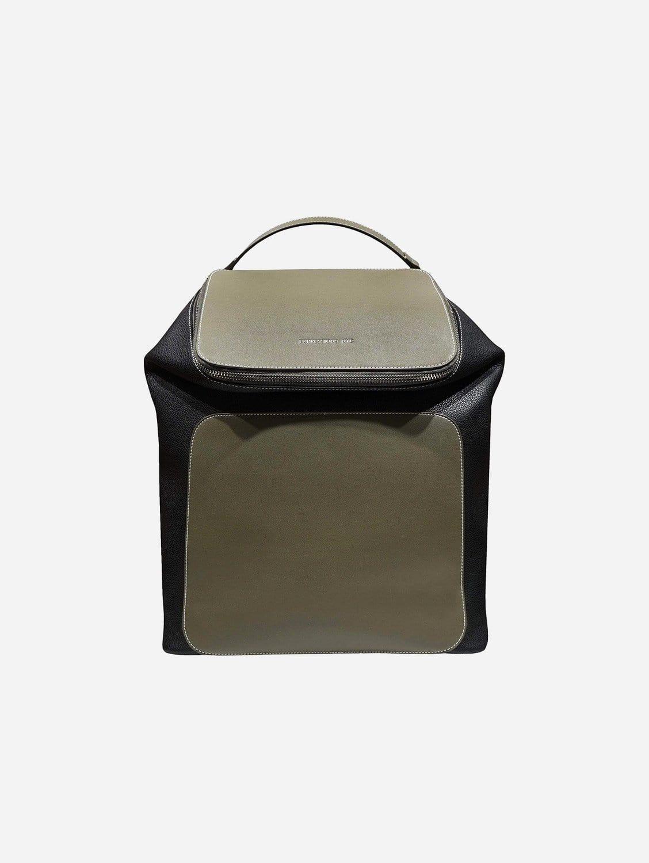 UPPER WEST SIDE Vegan Leather Large Backpack | Olive/Black