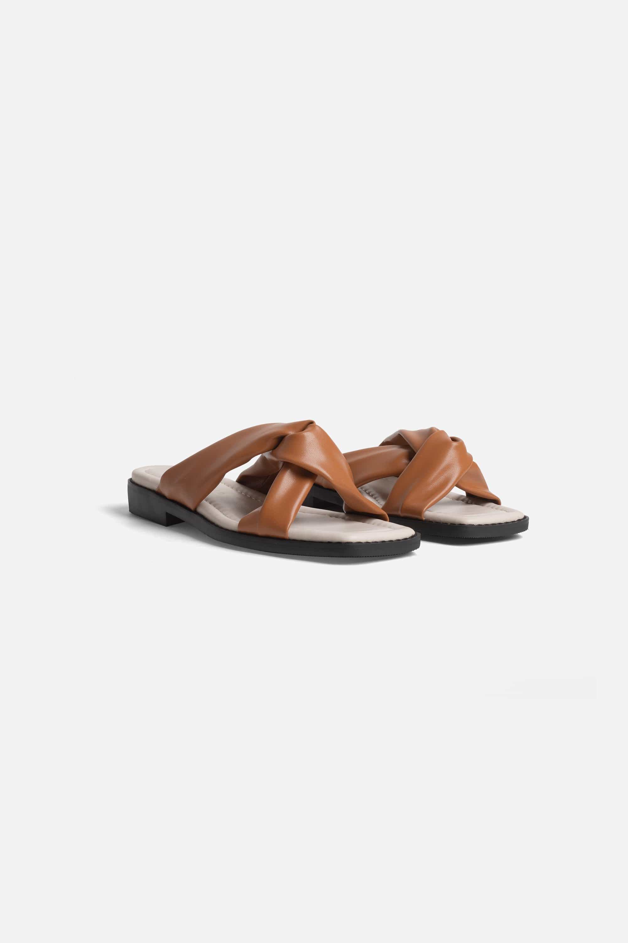 Collection & Co Filia Up-Cycled Vegan Leather Slip-On Sandal | Tan