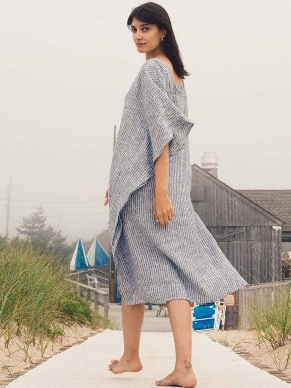 Striped Organic Linen Kaftan Dress | Multiple Colours