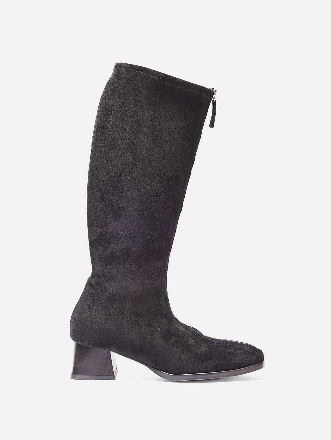 Leticia Recycled Polyester Vegan Suede Knee Boots   Black