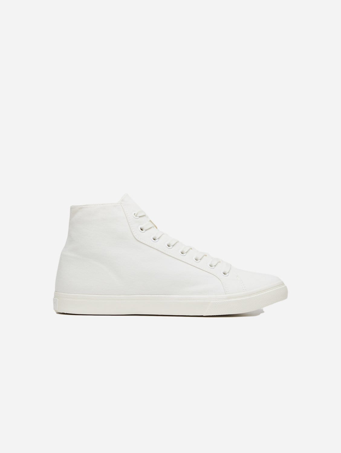 Climate Positive Recycled Canvas High-Top Trainer | White/Stripes