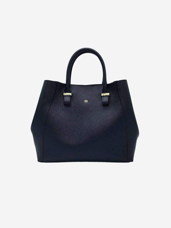 Jane Vegan Leather Satchel   Black