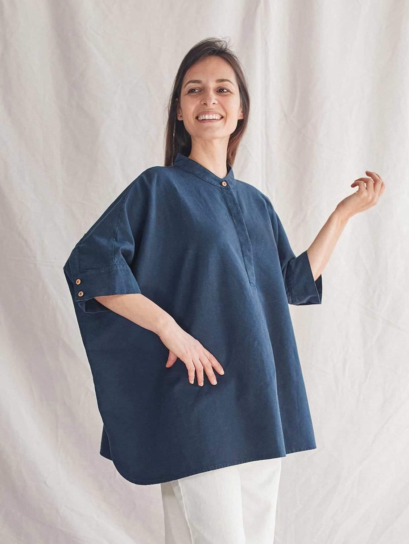 CLARA Organic Cotton & Hemp Woven Blouse   Navy Blue