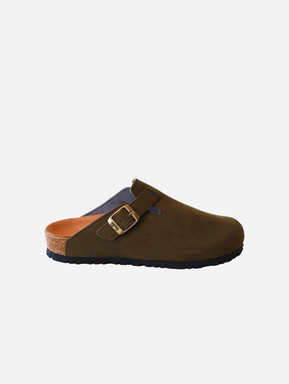 Gena Vegan Suede Slide-On Sandal | Khaki Green