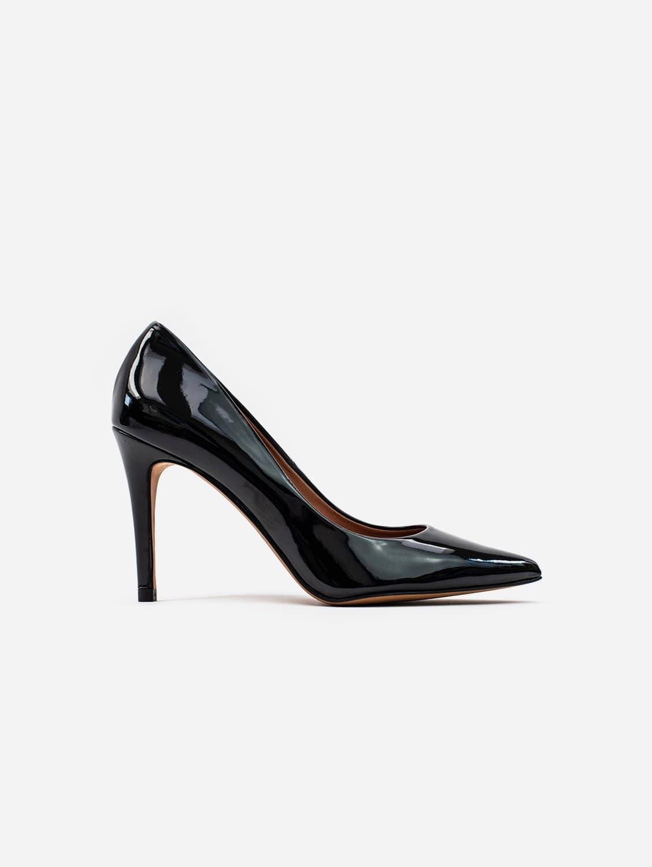 Sophie Vegan Leather Stiletto Court Shoe | Black Patent