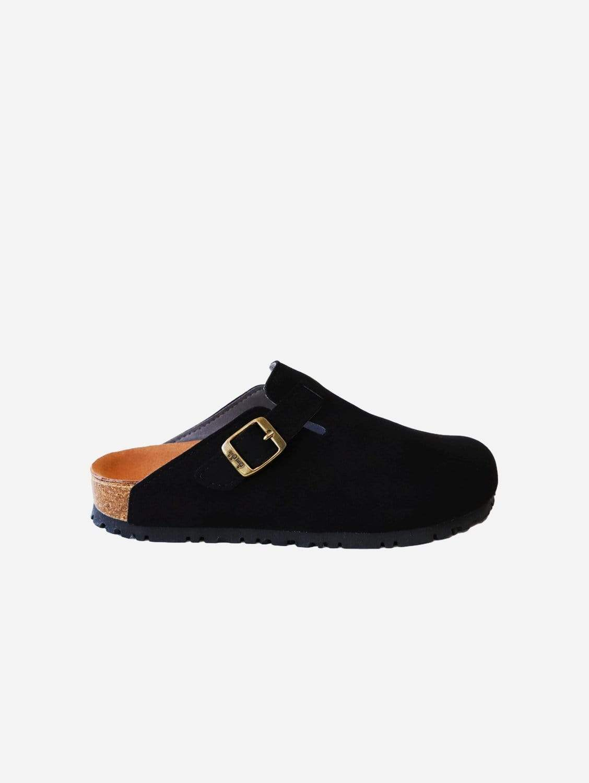 Gena Vegan Suede Slide-On Sandal | Black