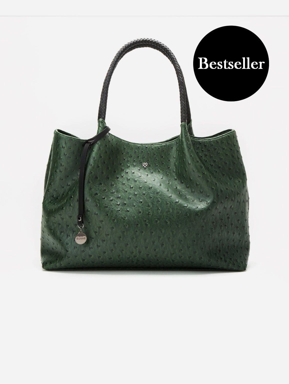 Naomi Vegan Leather Tote Bag | Dark Green