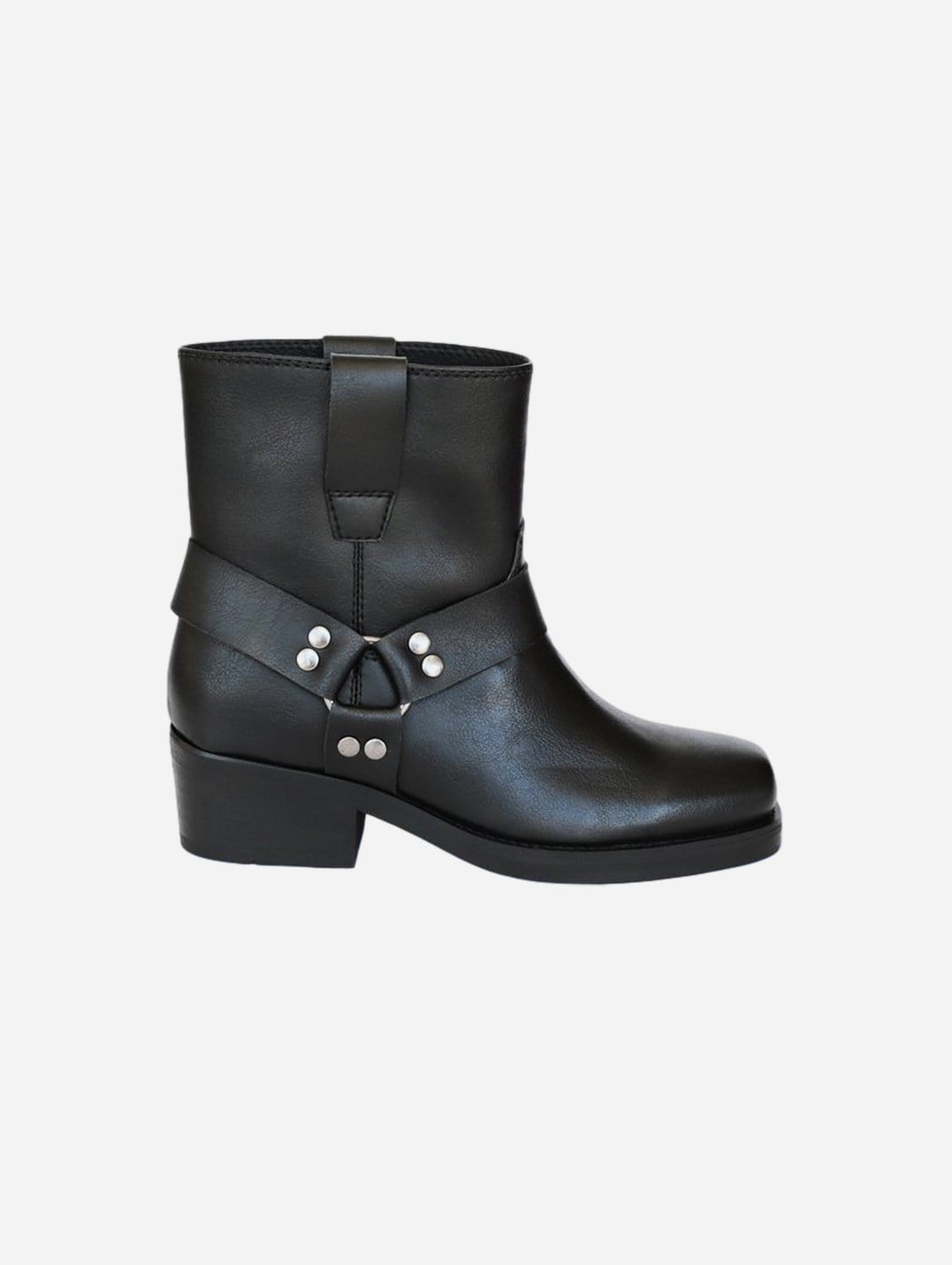 Chuck Vegan Leather Low-Top Motorcycle Boots | Black