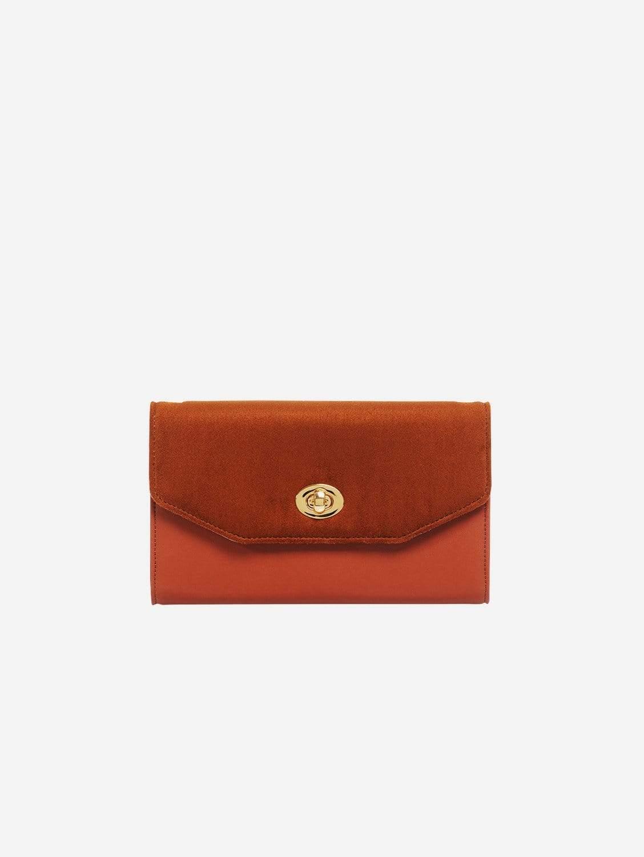 Piaf Oxymore Vegan Leather & Microsuede Clutch Bag   Camel