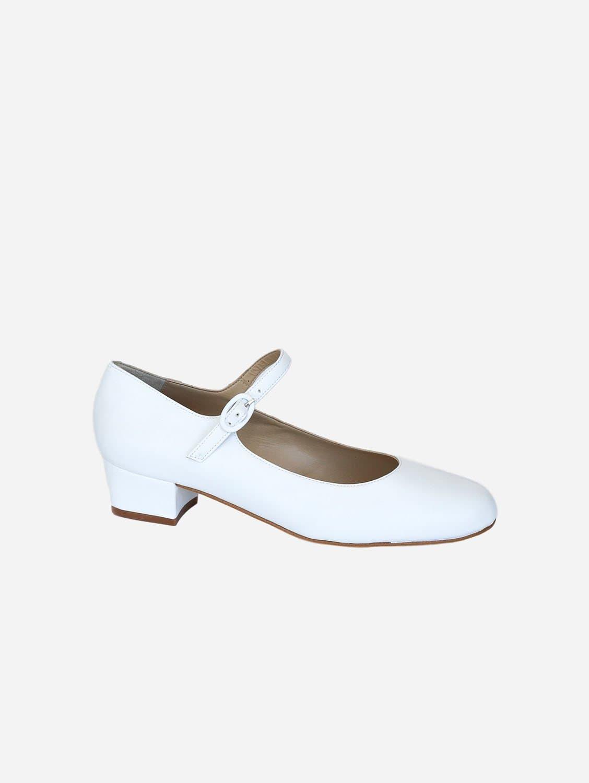 Emma Vegan Leather Mary-Jane Flats | White