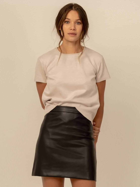 Becca Vegan Leather A-Line Mini Skirt | Black