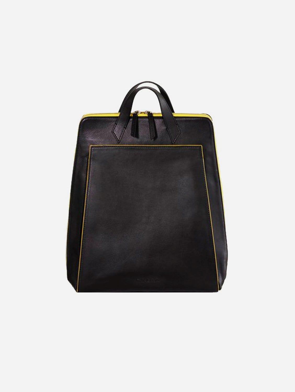 Urban Vegan Leather Backpack | Black & Yellow