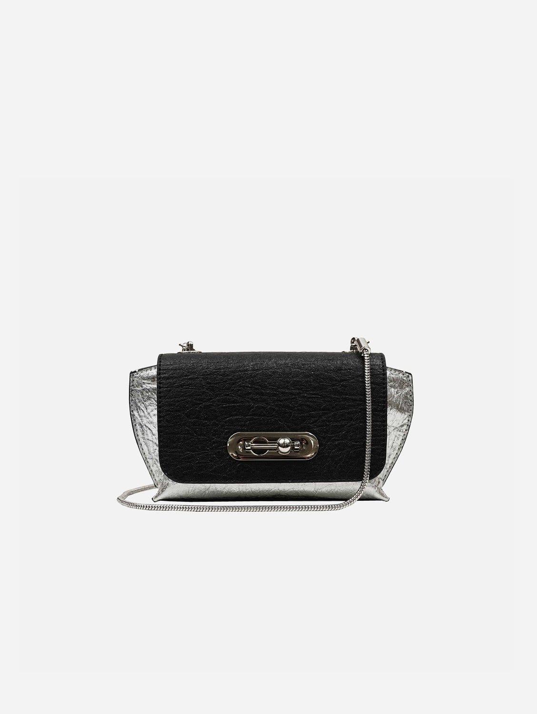 Air Piñatex Vegan Leather Small Crossbody Bag | Black & SIlver
