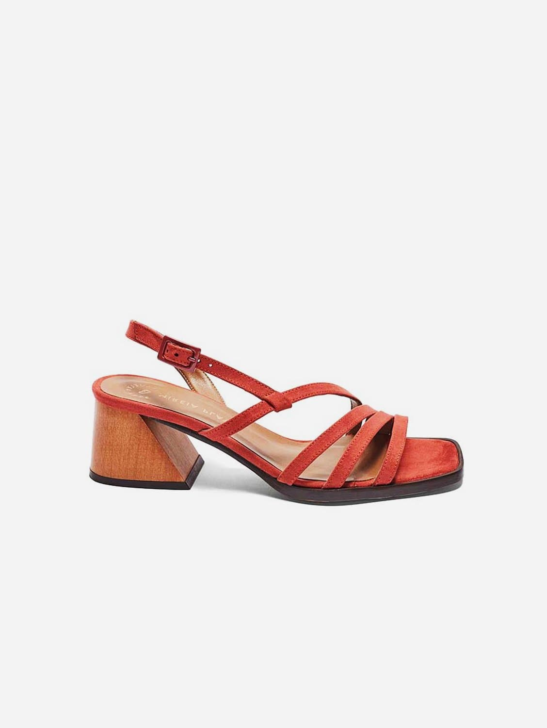 Hippy Recycled Polyester Vegan Suede Heeled Sandal | Watermelon