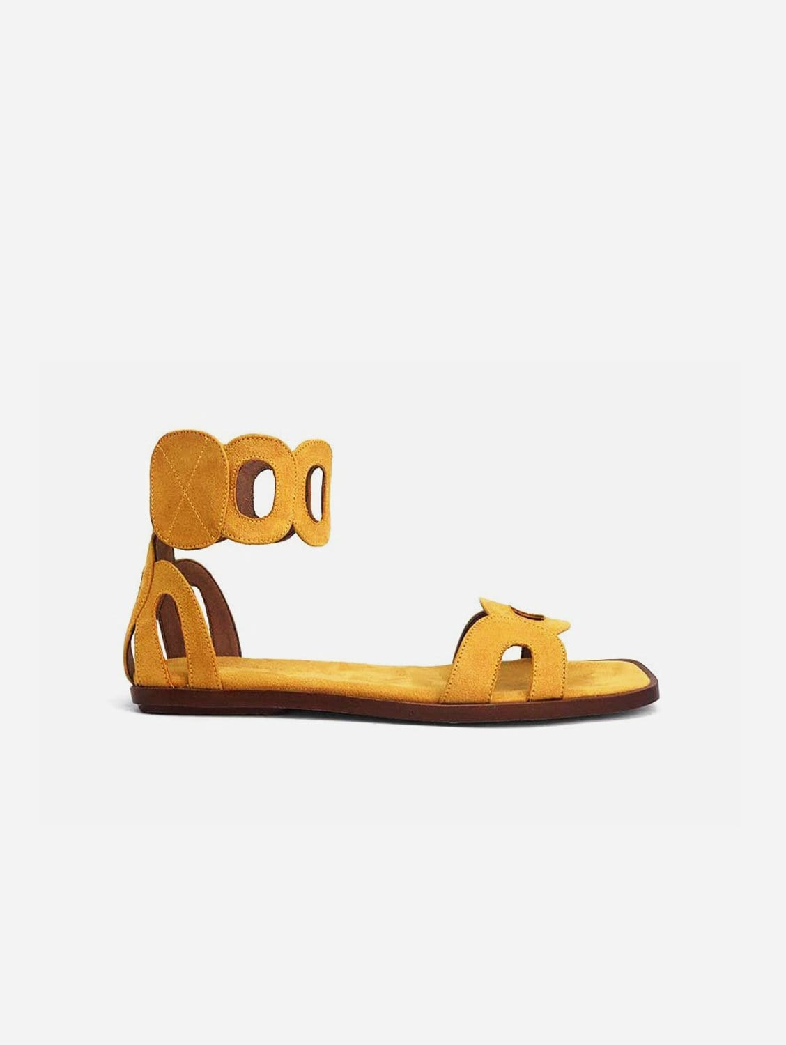 Hortensia Recycled Polyester Vegan Suede Ankle Sandal | Yellow