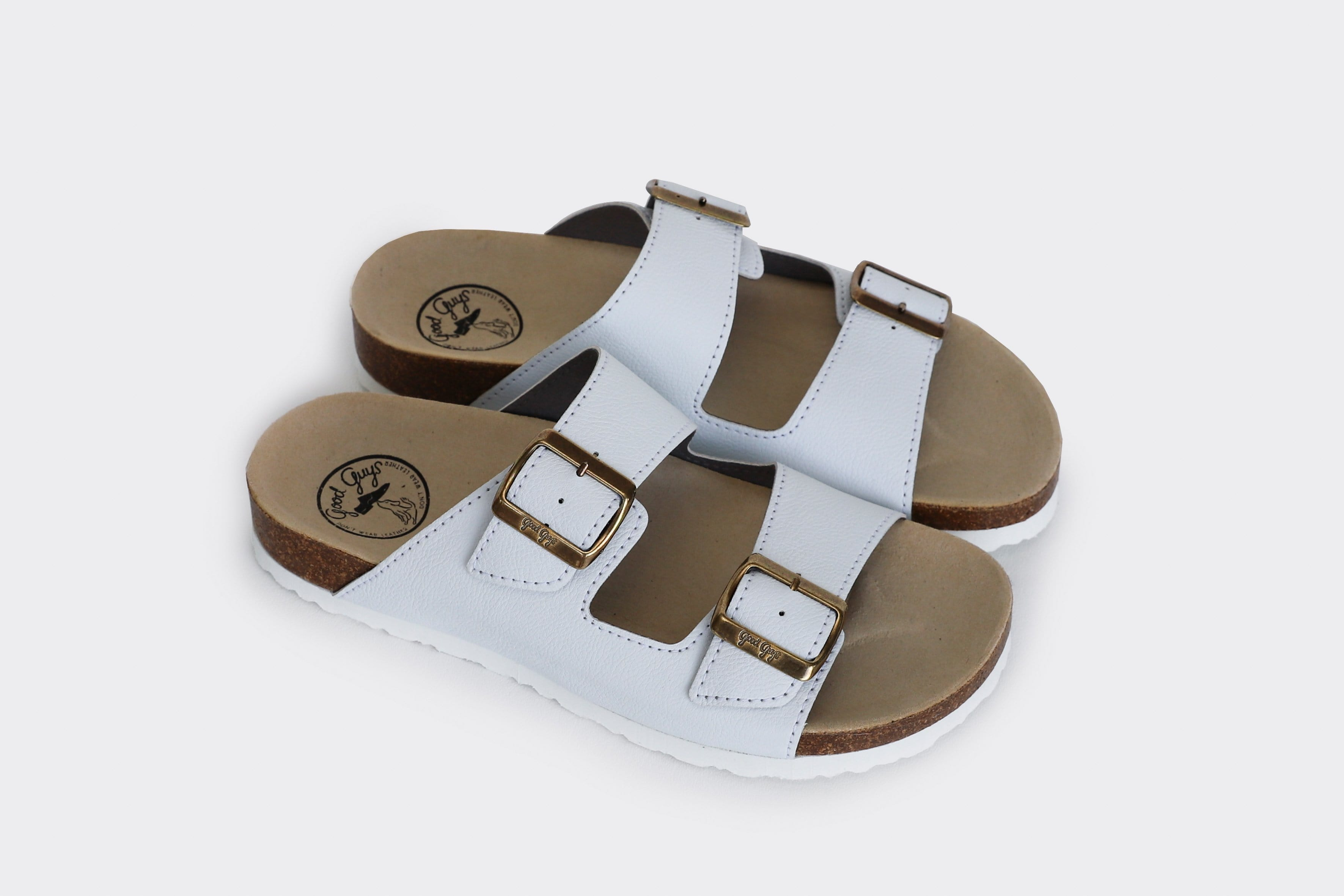 Good Guys Don't Wear Leather Juno Apple Leather Vegan Buckled Slide-On Sandal | White