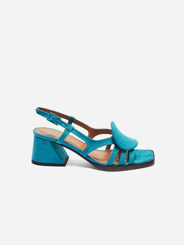Hiedra Recycled Polyester Vegan Suede Heeled Sandal | Aquamarine