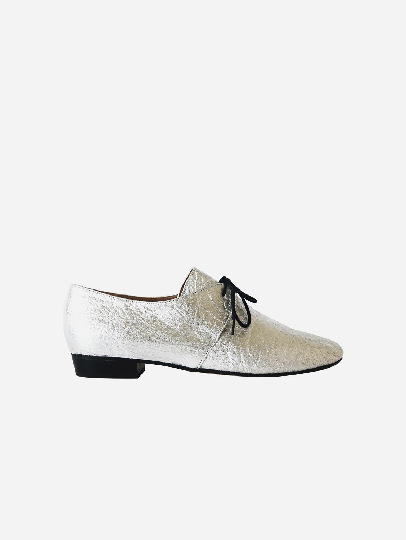 Tapir Vegan Piñatex Leather Flats | Silver