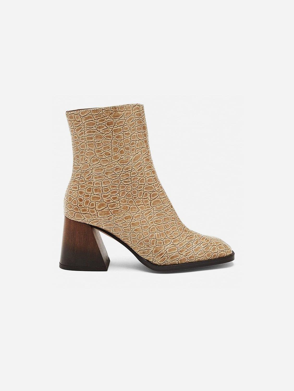 Georgina Vegan Patent Leather Ankle Boot   Beige Croc