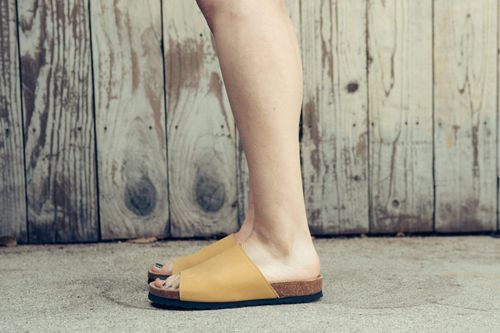 Good Guys Don't Wear Leather Jenny Vegan Leather Slide-on Sandals | Mustard