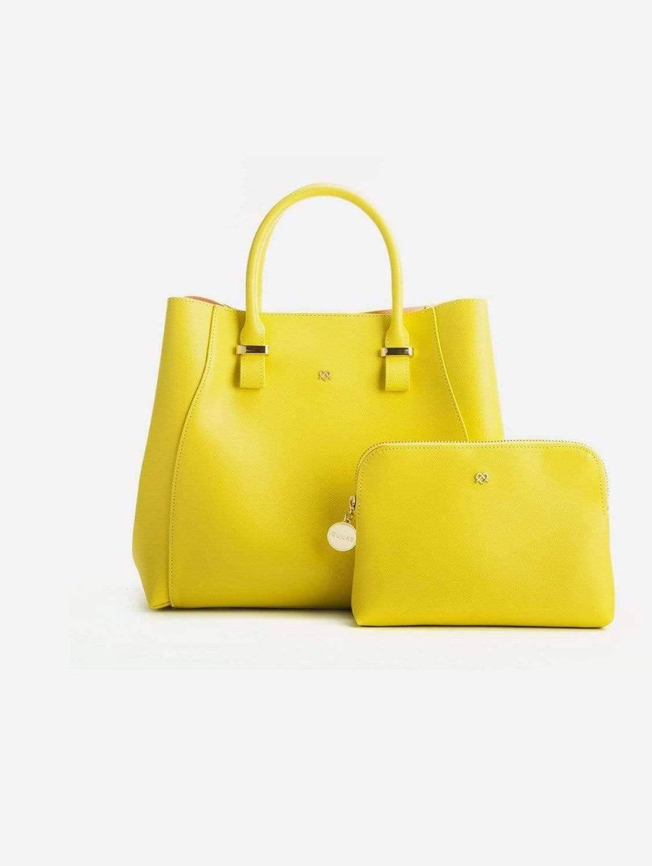 Jane Vegan Leather Satchel   Lemon Yellow