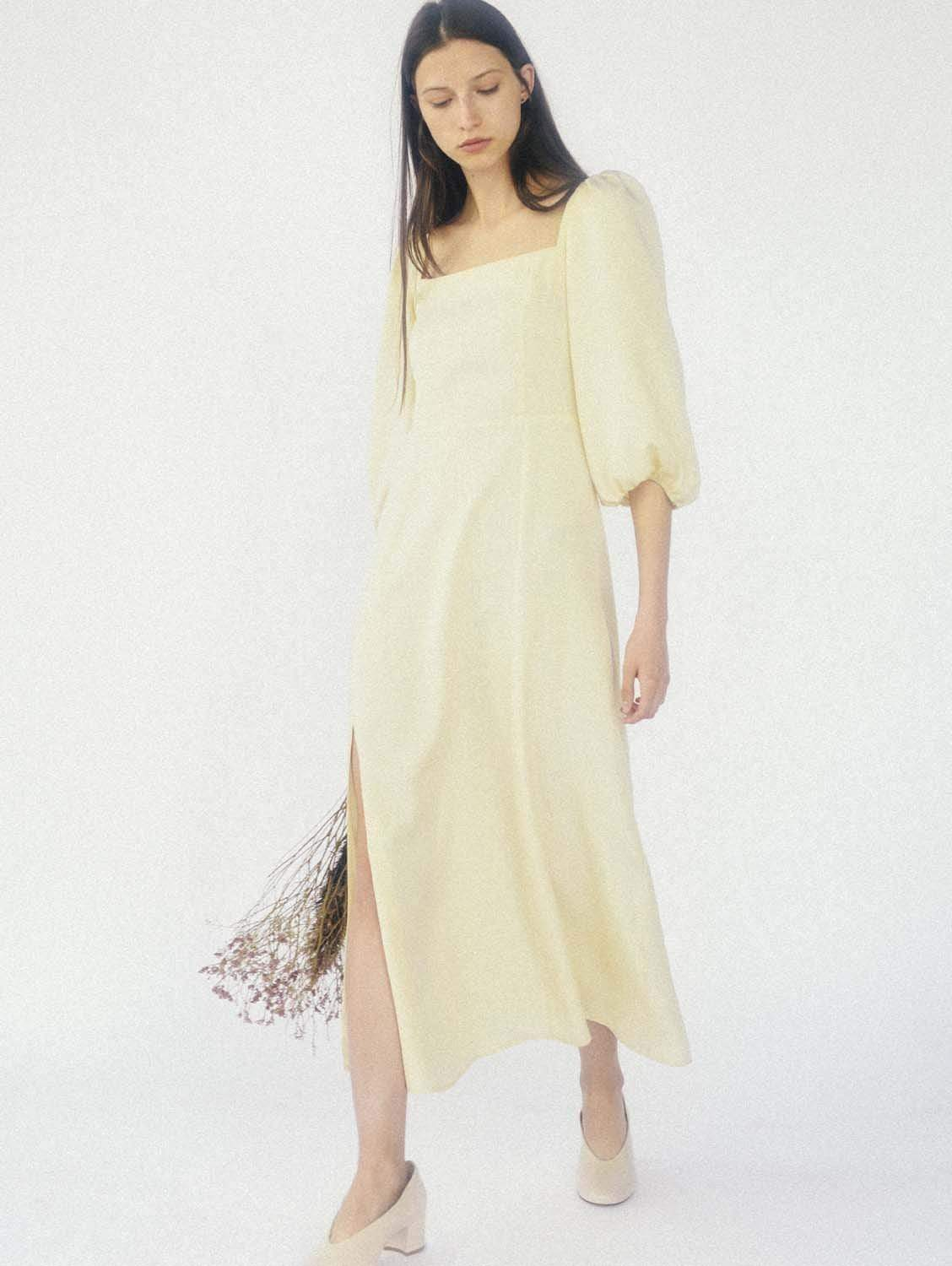 Ver Tencel™ Vegan Silk Puffy Sleeve Dress | Lemonade
