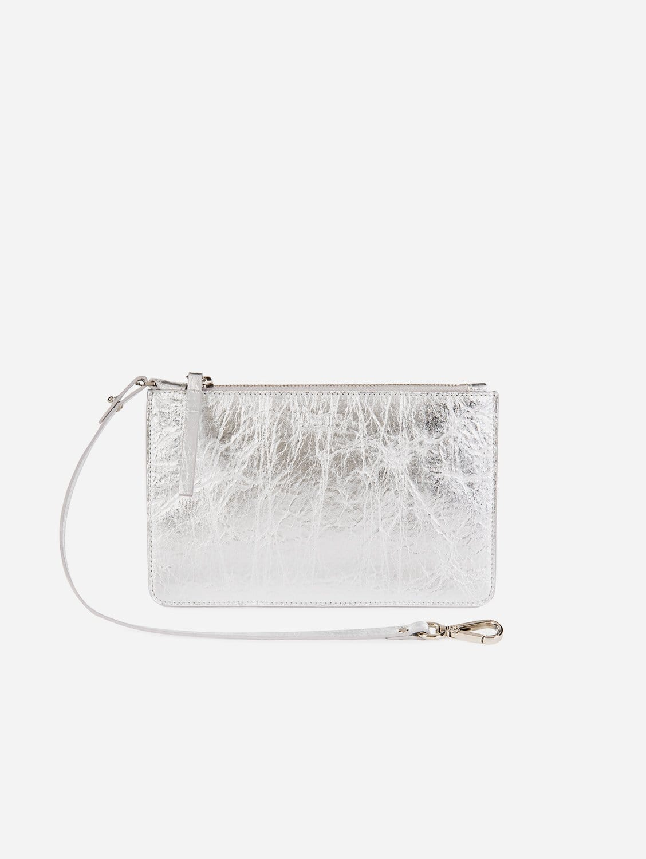 Piñatex Vegan Leather Clutch | Silver
