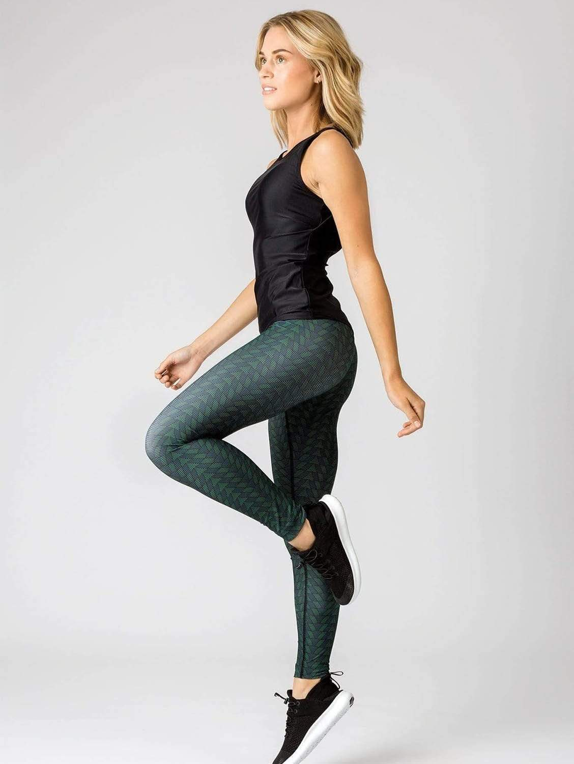 Noemie Tulum Recycled Polyester High-Waisted Legging | Green Print