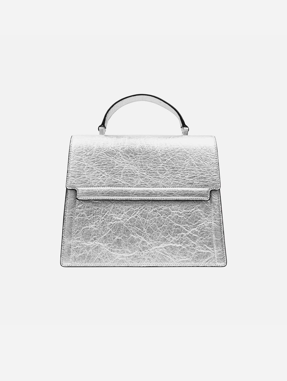 Fire Piñatex Vegan Leather Flap Satchel | Silver