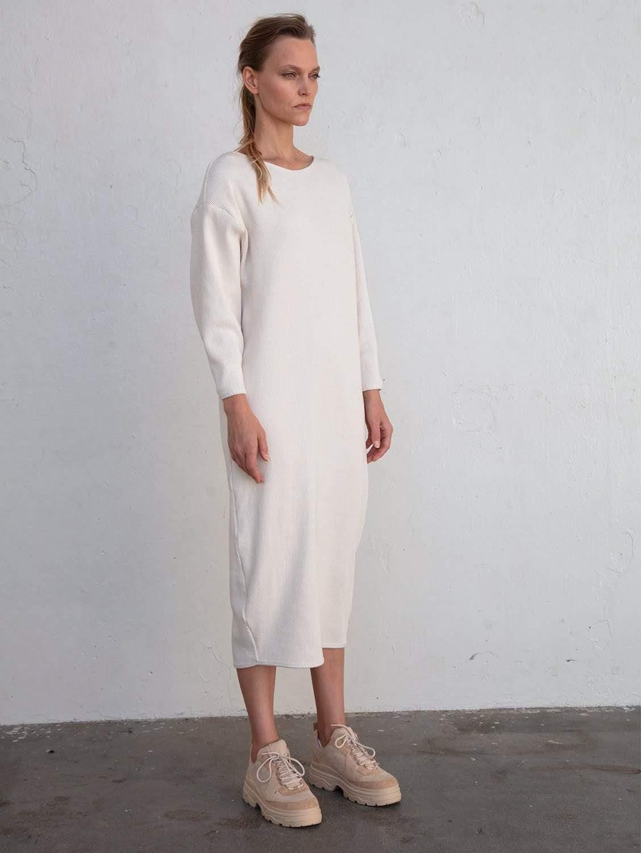 Luna Recycled Cotton Rib Knit Dress | Full Moon