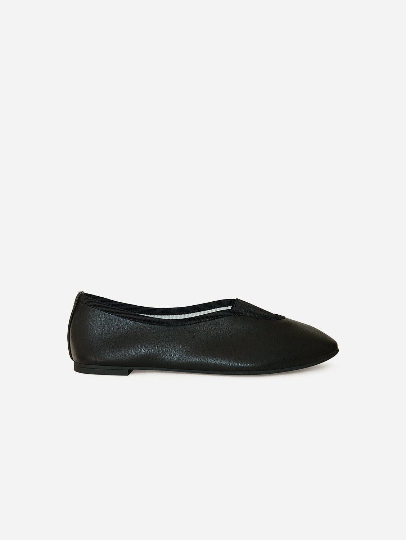 Rhythmic Vegan Nappa Leather Ballet Flats | Black