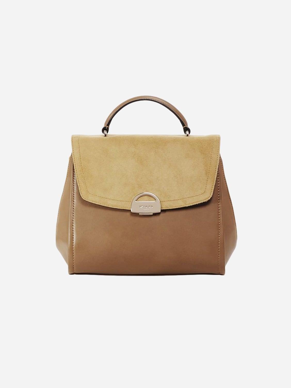 Paname Oxymore Vegan Leather & Microsuede Handbag | Taupe