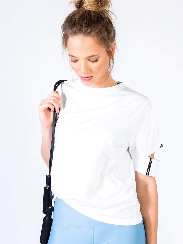 Yattou Organic Cotton Cut-Out Sleeve T-shirt | White